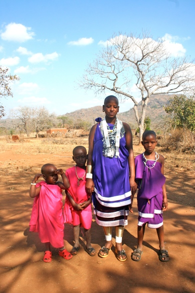 "My Massai ""mother"" and her children."