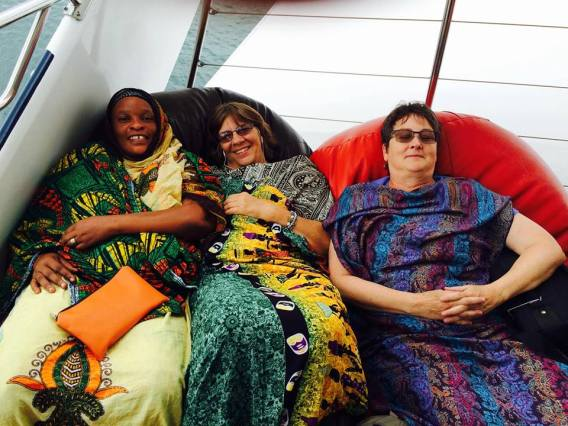 Mama, Liz and I getting cozy on the boat to Zanzibar.